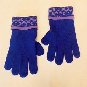 Coach Purple 100% Merino Wool Gloves OSFS